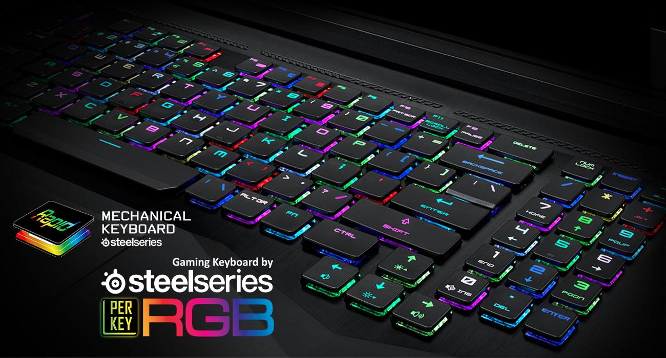 MSI Titan GT75 8RG Błyskawicznie działająca mechaniczna klawiatura SteelSeries