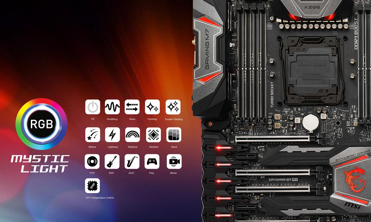 MSI X299 GAMING M7 ACK Podświetlenie RGB Mystic Light