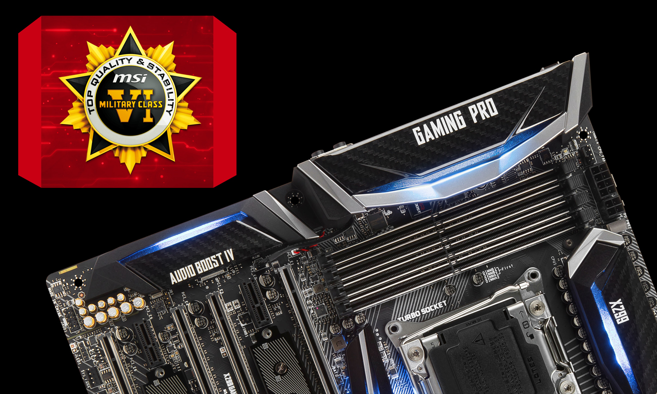 MSI X299 GAMING PRO CARBON Komponenty Military Class VI