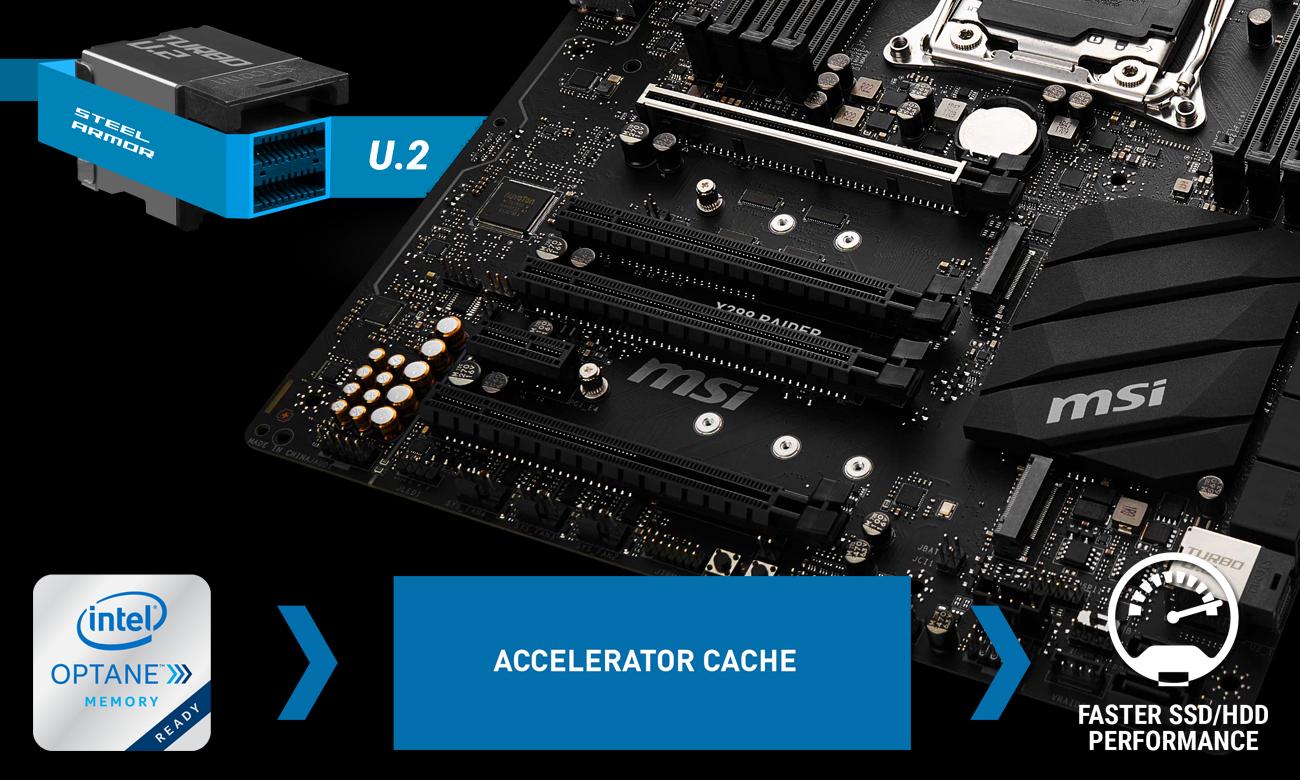 MSI X299 RAIDER Złącza Turbo M.2 oraz U.2 i Intel Optane