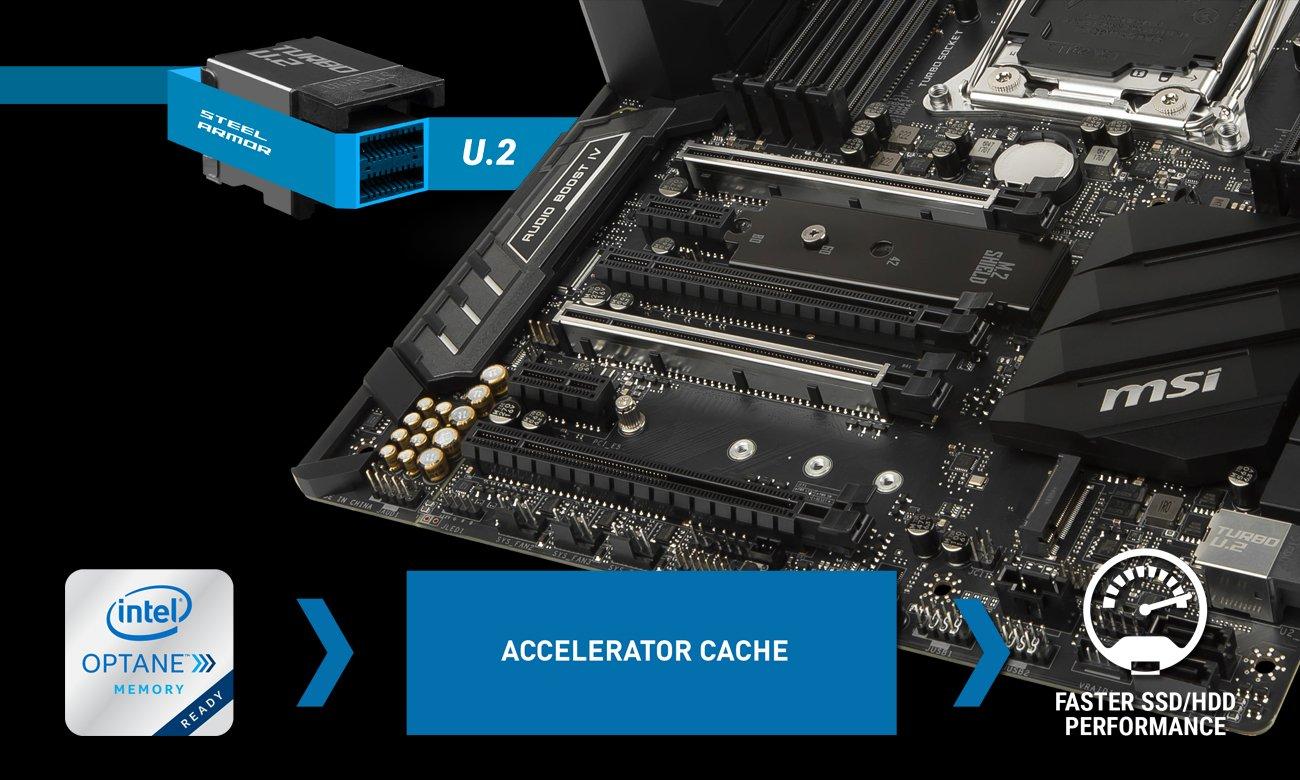 MSI X299 SLI PLUS Złącza Turbo M.2 oraz U.2 i Intel Optane