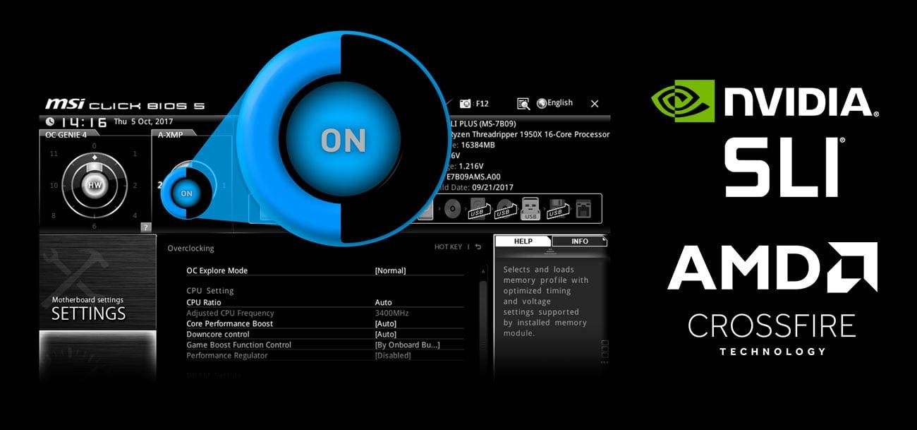 MSI X399 SLI PLUS Easy XMP NVIDIA SLI AMD Crossfire