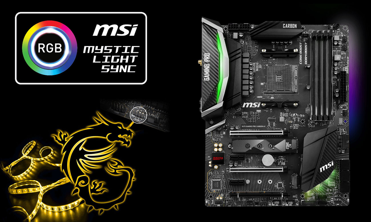 MSI X470 GAMING PRO CARBON AC Podświetlenie MSI Mystic Light