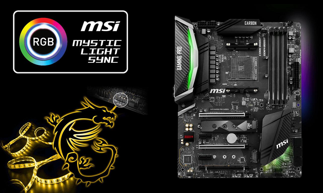 MSI X470 GAMING PRO CARBON Podświetlenie MSI Mystic Light