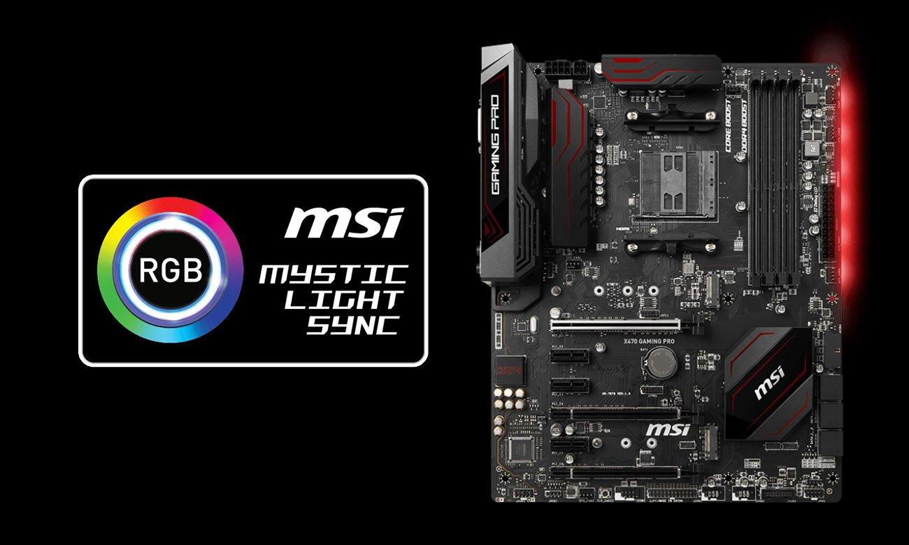 MSI X470 GAMING PRO Podświetlenie Mystic Light