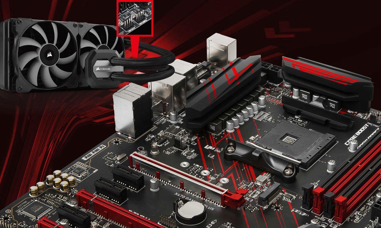 MSI X470 Gaming Plus Dopracowany system chłodzenia, współpraca z pompami wodnymi