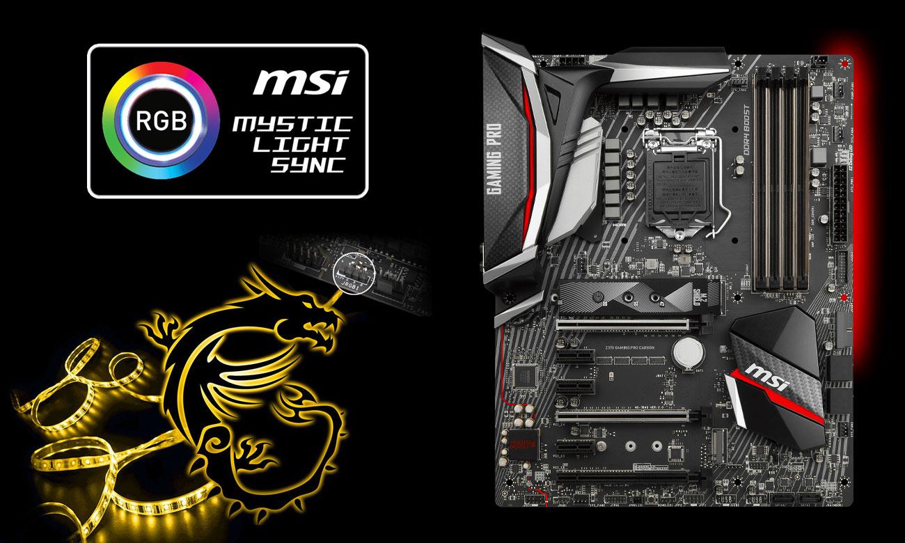 MSI Z370 GAMING PRO CARBON Podświetlenie RGB Mystic Light