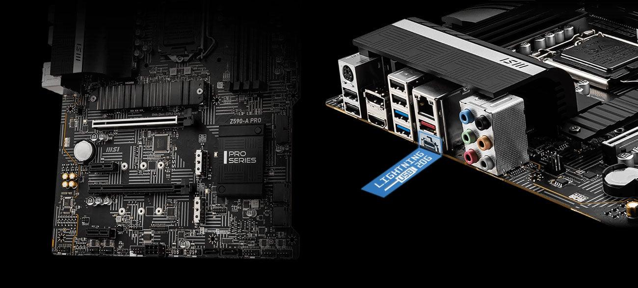 MSI Z590-A PRO - Złącza M.2, USB
