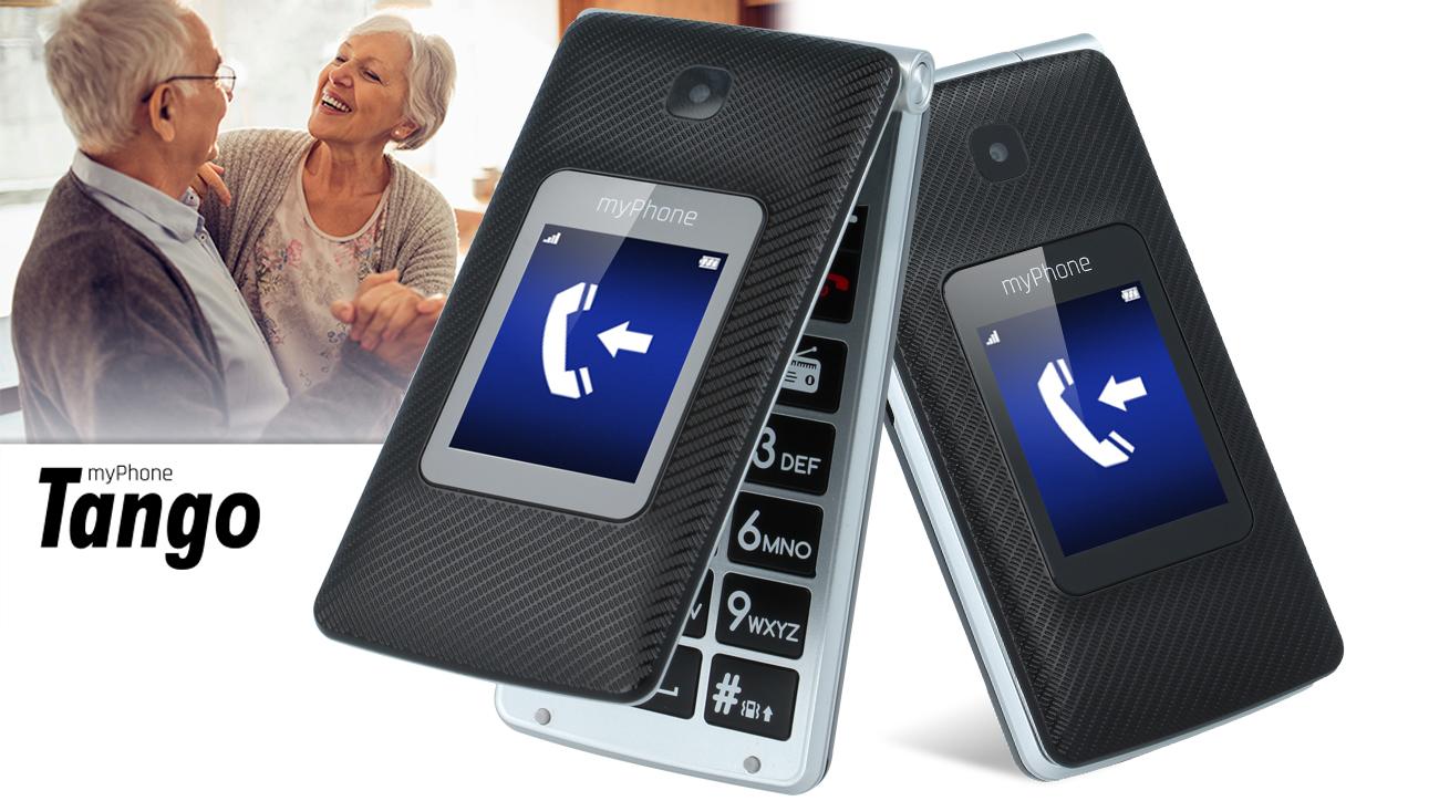 Czarny myPhone TANGO konstrukcja z klapką