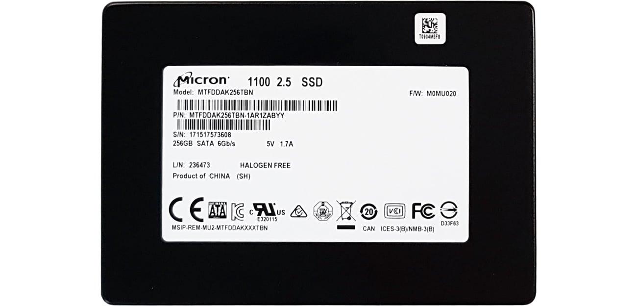 Dysk SSD Micron 256GB M1100 2,5'' MTFDDAK256TBN-1AR1ZABYY