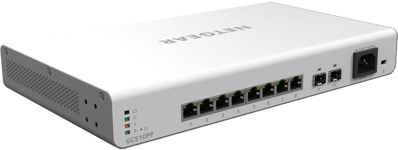 Switch Netgear 10p GC510PP Smart Cloud 8x100/1000Mbit 2xSFP PoE+ GC510PP-100EUS Insight