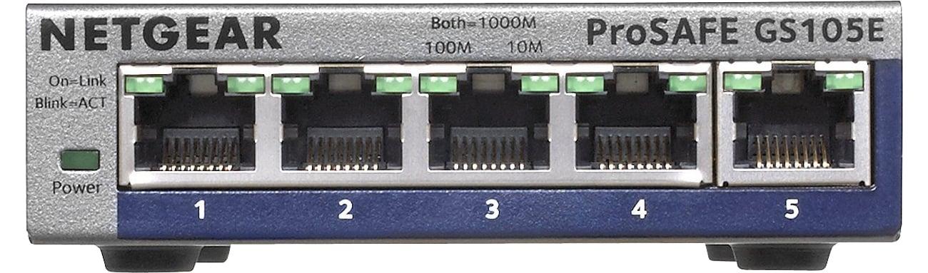 Switch Netgear 5p GS105E-200PES złącza