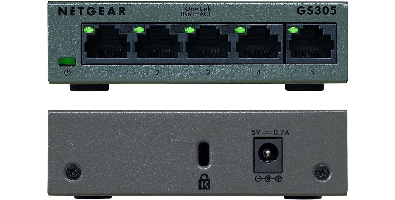 Switch Netgear 5p GS305-100PES przód i tył