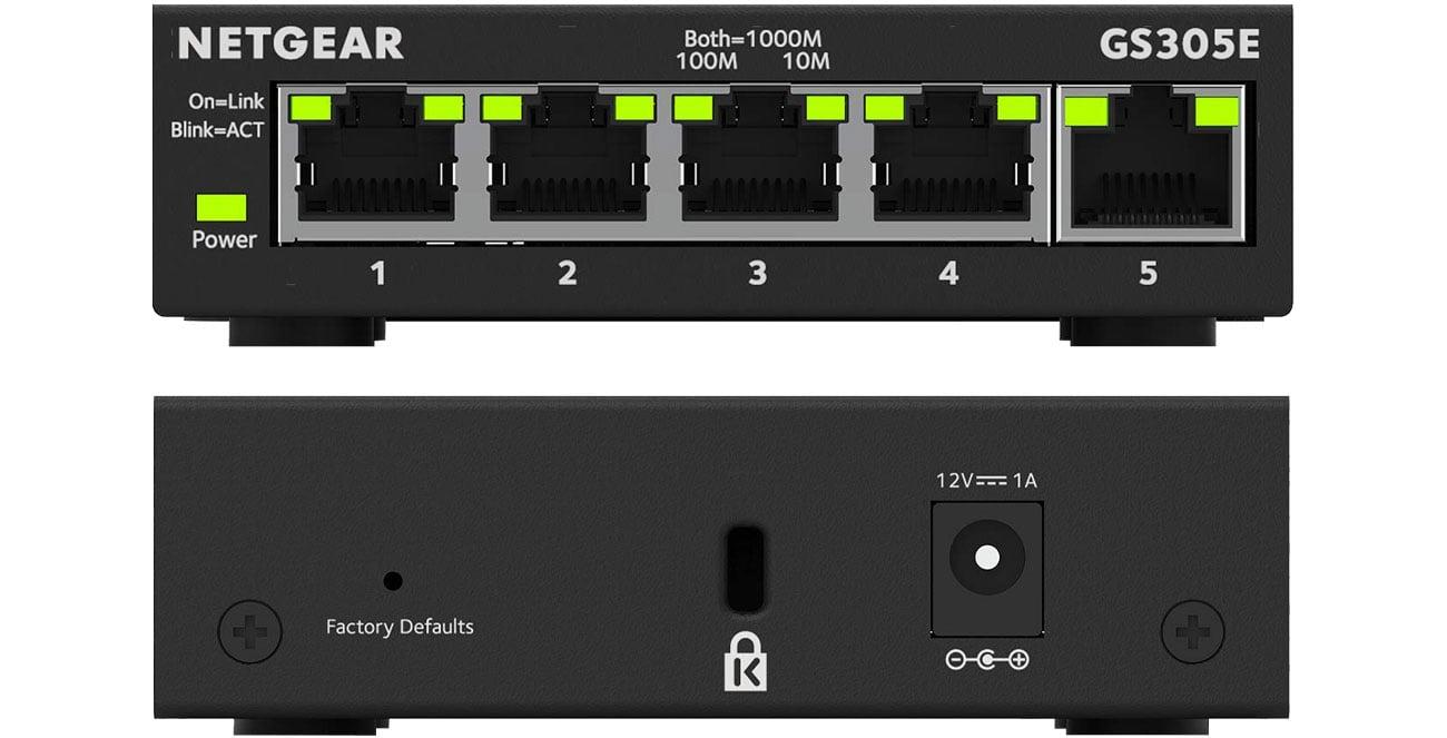 Przełącznik Netgear GS305E - Przód, tył
