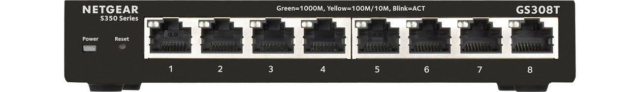 Switch 8p Netgear GS308T - Widok z przodu