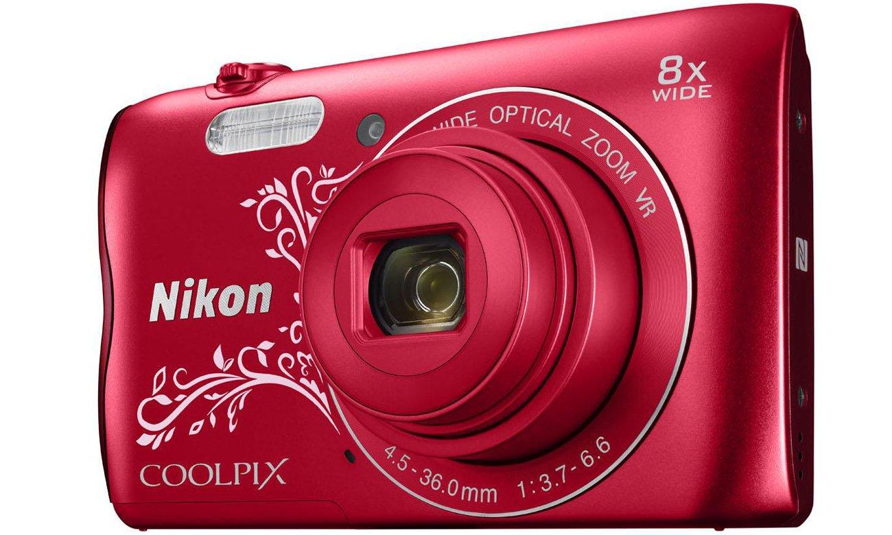 Aparat kompaktowy Nikon Coolpix A300 czerwony z ornamentem