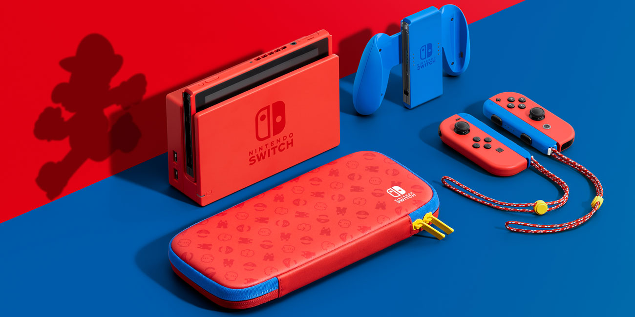 Nintendo Switch Red/Blue Mario Edition - Zestaw