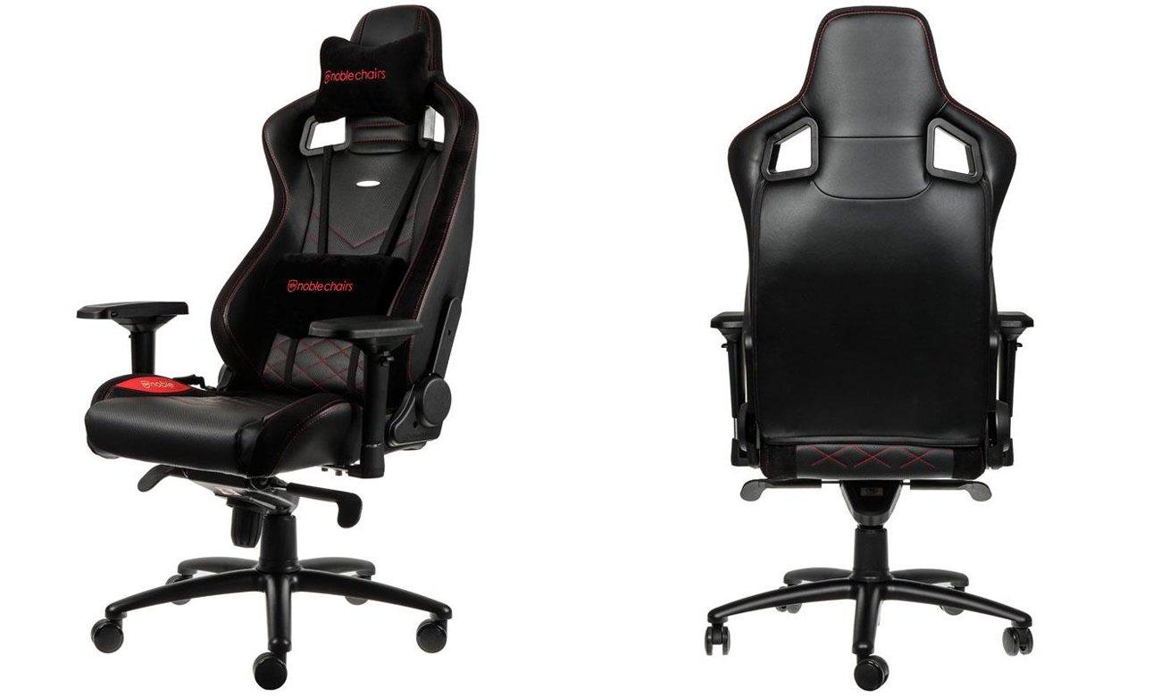 Fotel noblechairs EPIC Gaming Czarno-czerwony Przód tył