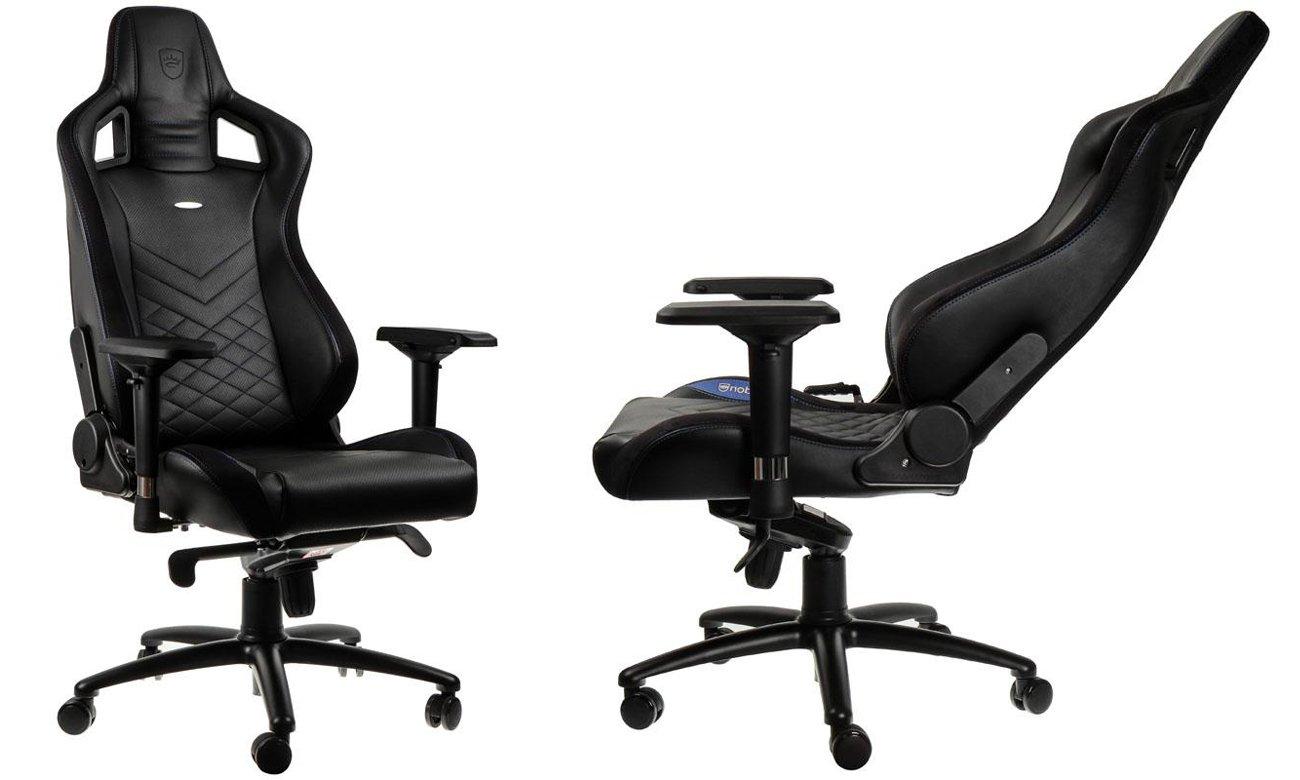 Fotel noblechairs EPIC Gaming Czarno-niebieski Przód bok