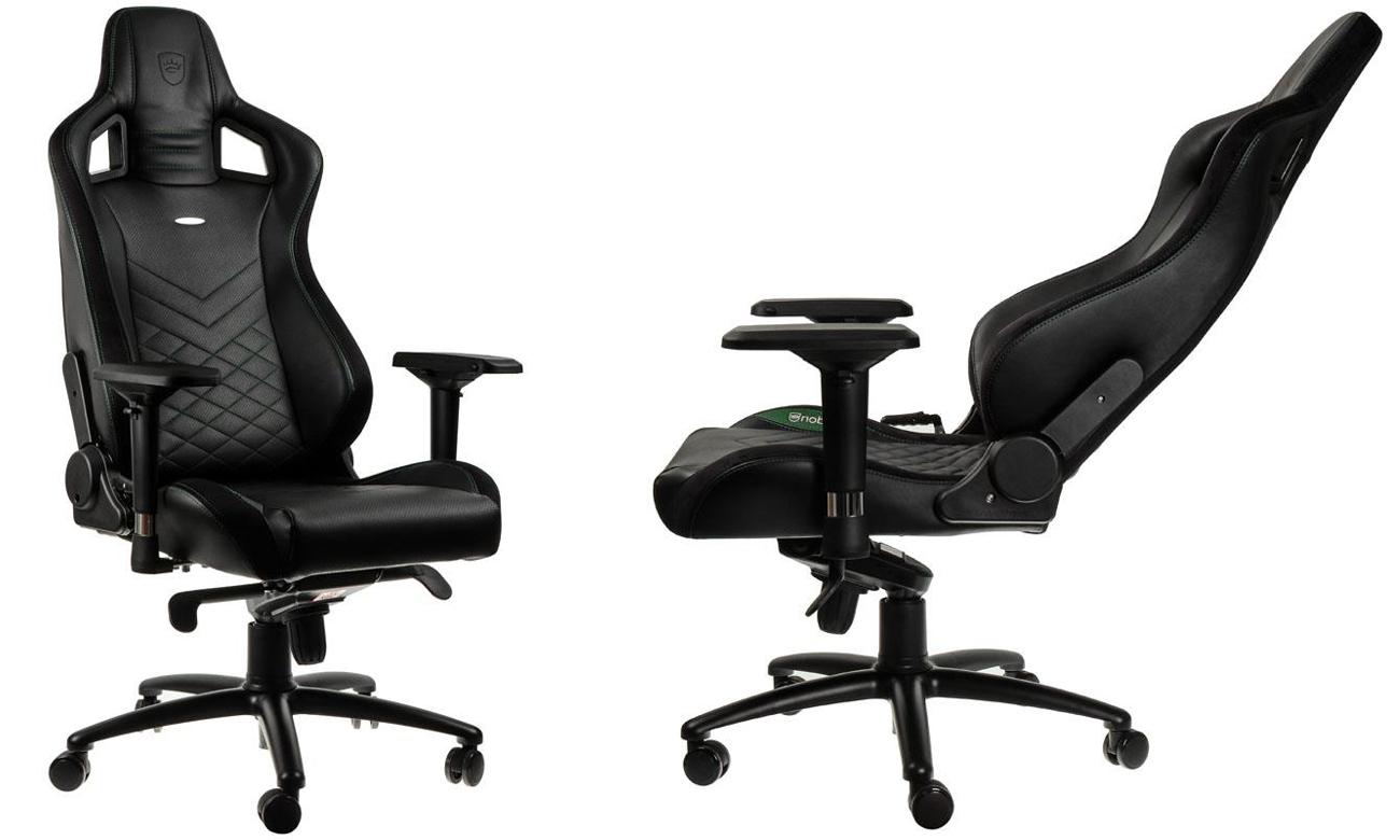 Fotel noblechairs EPIC Gaming Czarno-zielony Przód bok
