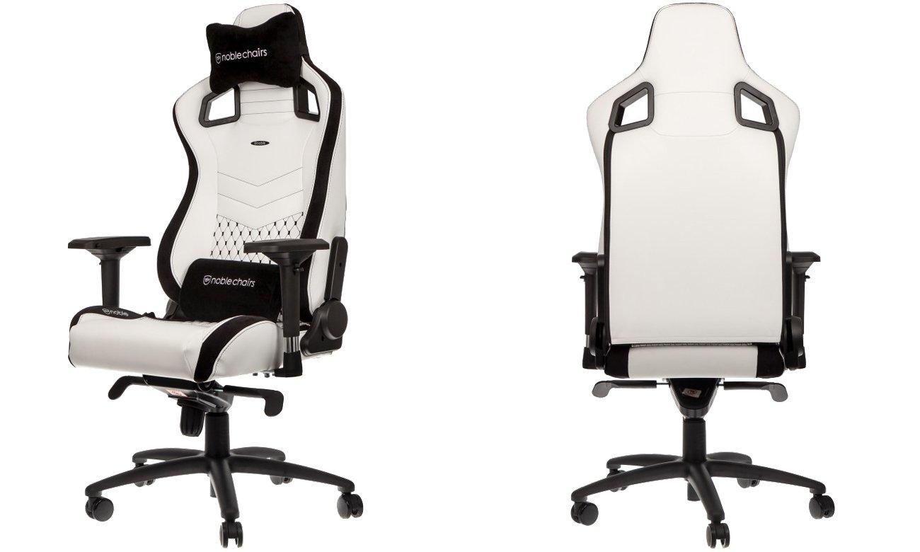 Fotel noblechairs EPIC Gaming Biało-Czarny Przód, tył NBL-PU-WHT-001