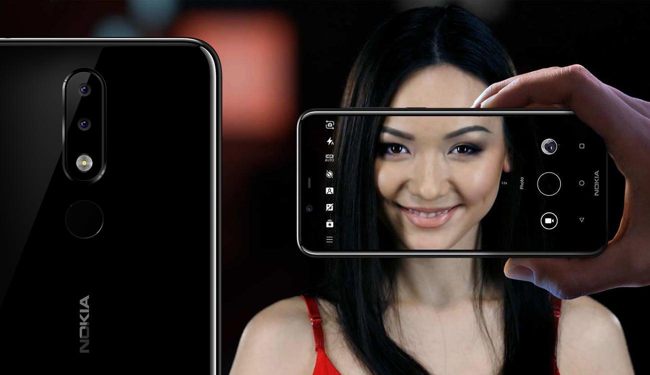 Nokia 5.1 Plus szerokie selfie 8 mpix i kamera główna 13 mpix z AI
