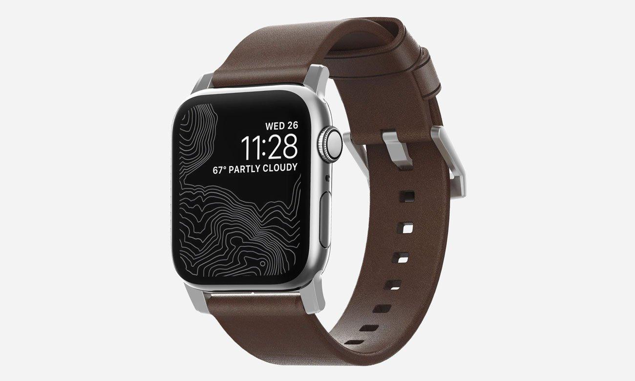Nomad Pasek Skórzany do Apple Watch 42/44mm Brown Silver NM1A4RSM00