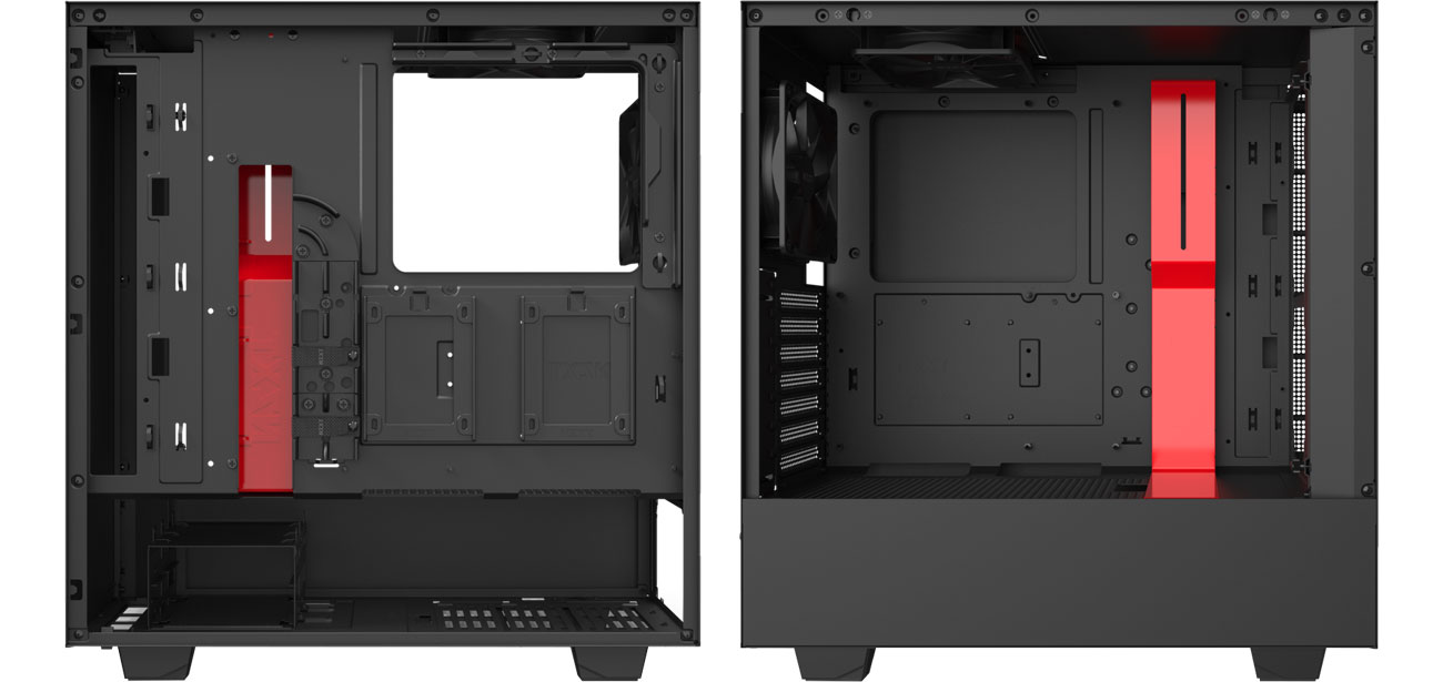 NZXT H510 Red - Wnętrze