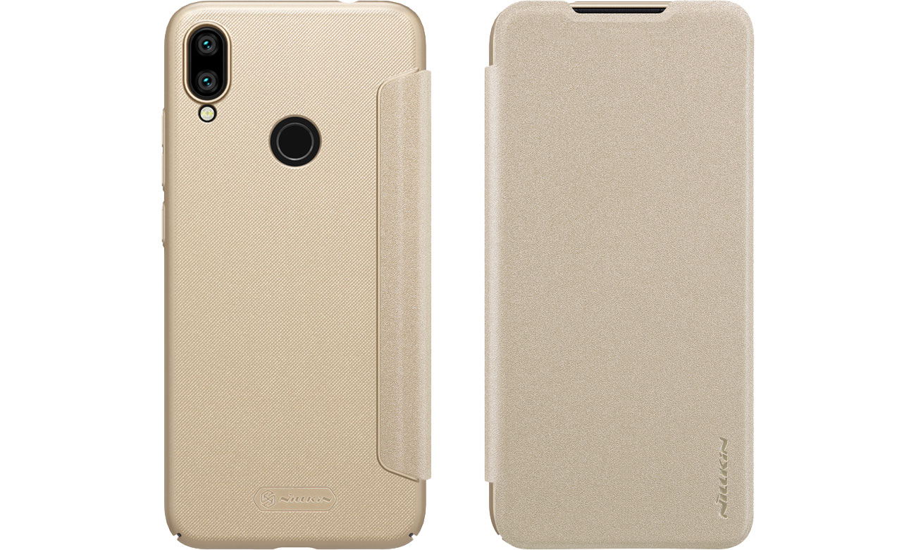 Etui z Klapką Sparkle do Xiaomi Redmi Note 7 Gold