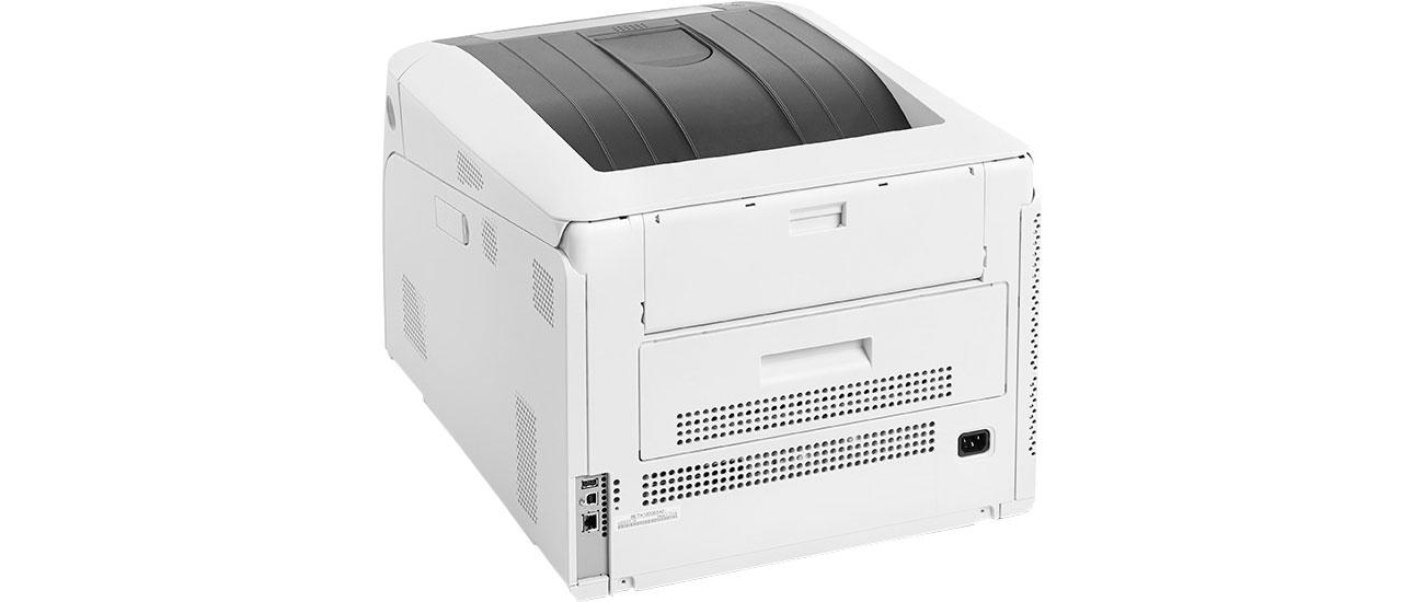 OKI C824n - Widok z tyłu, złącza LAN, USB