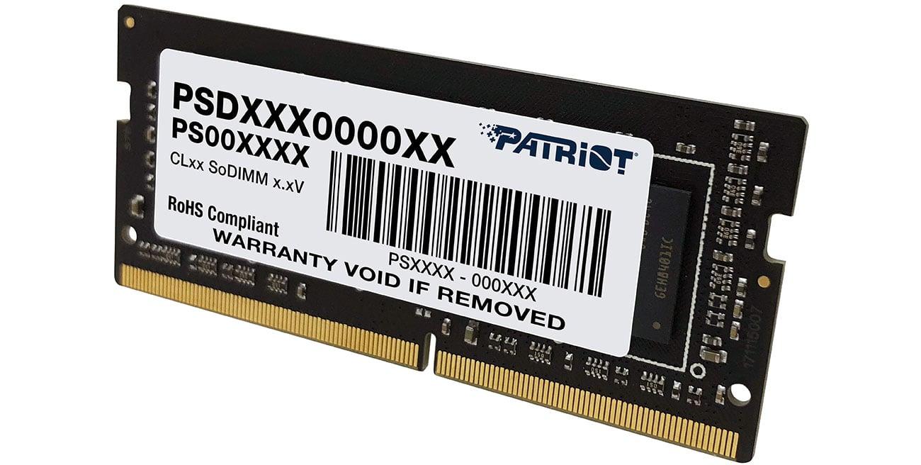Pamięć RAM SODIMM DDR4 Patriot 8GB (1x8GB) 3200MHz CL22 PSD48G320081S