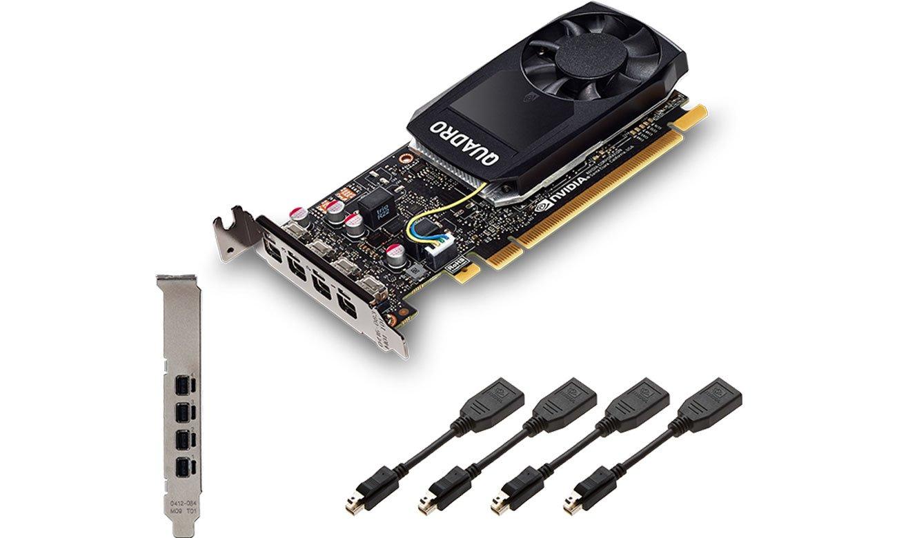 Cztery złącza Mini DisplayPort 1.4