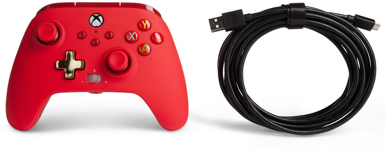 Kontroler przewodowy PowerA Enhanced do Xbox Series X S Czerwony