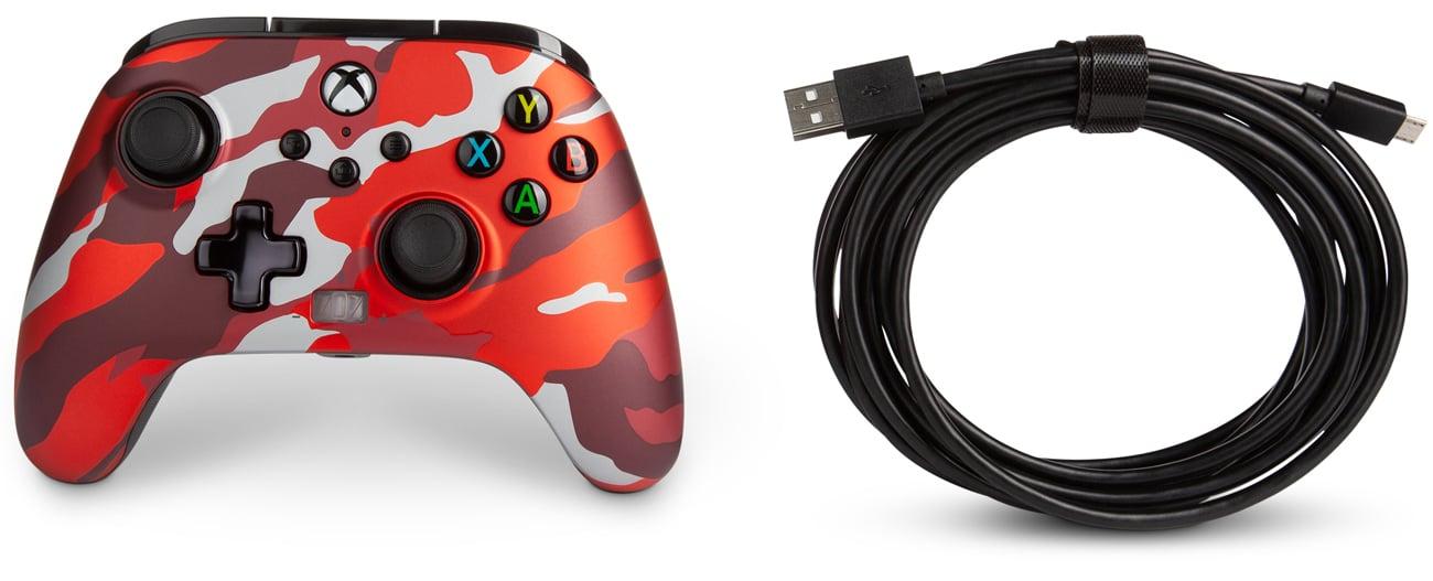 Kontroler przewodowy PowerA Enhanced do Xbox Series X S Metallic Red Camo