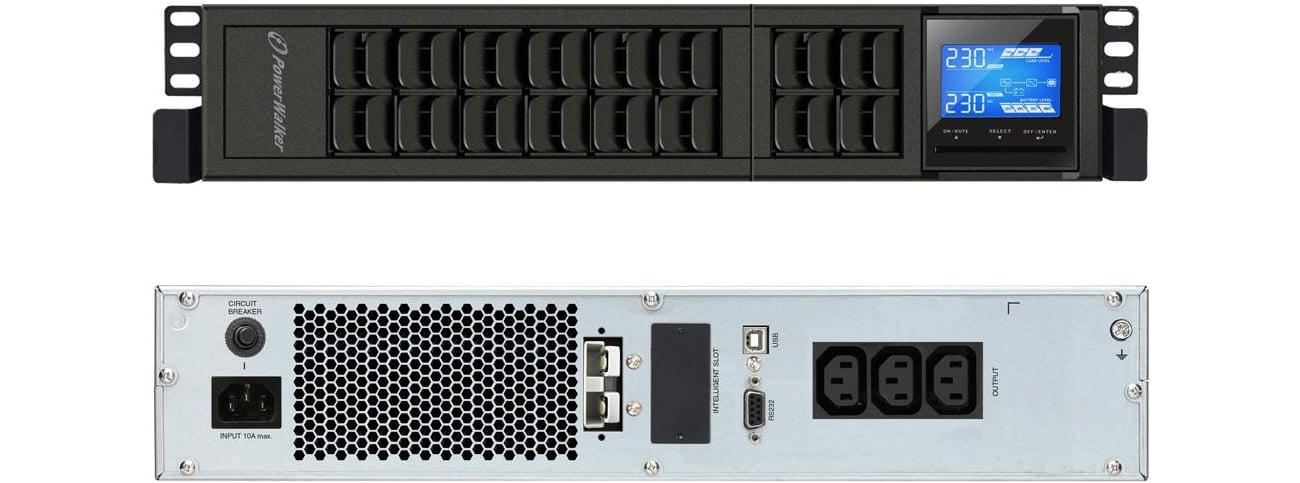 Zasilacz awaryjny UPS Power Walker ON-LINE 1000VA 3X IEC USB RS-232 LCD RACK TOWER VFI 1000 CRM LCD