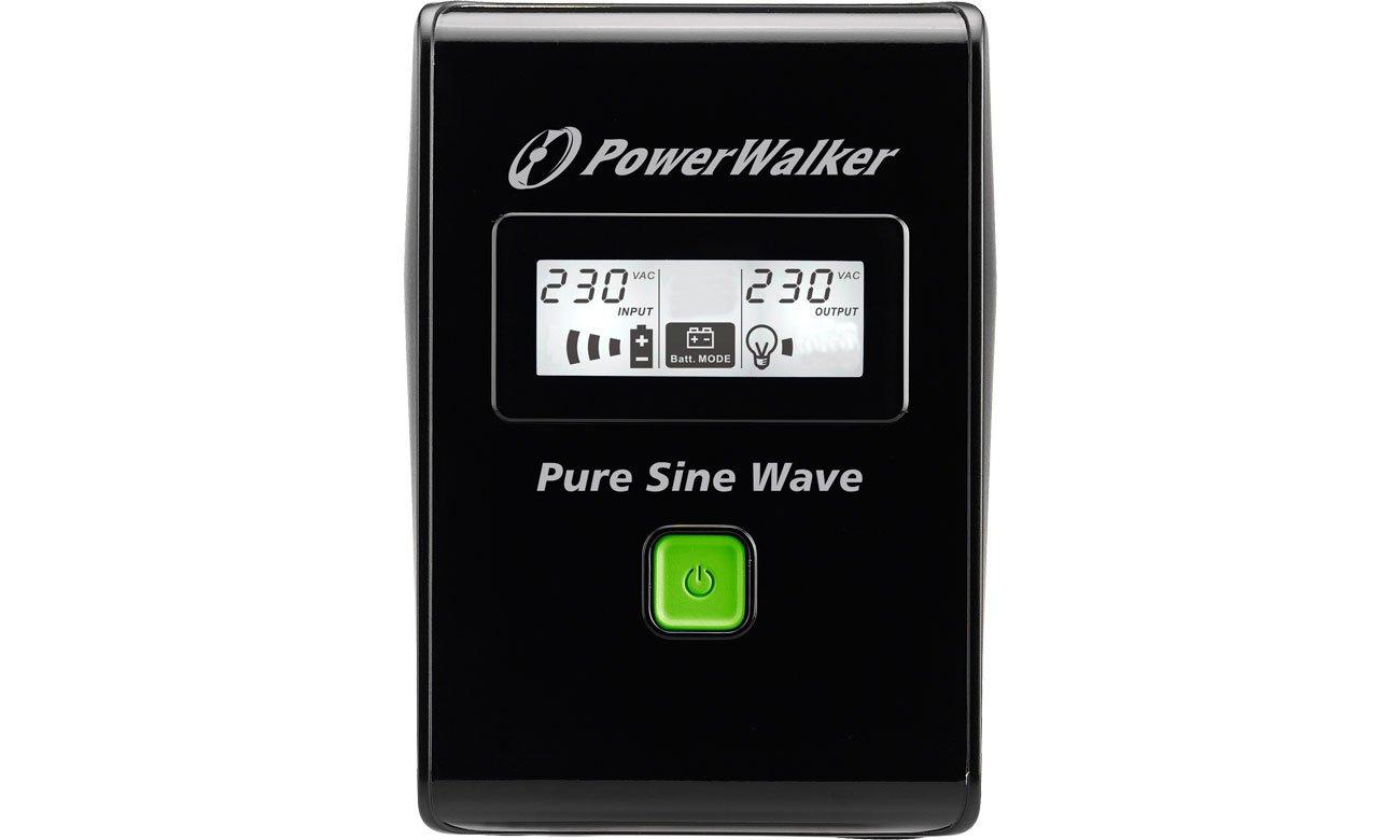 Power Walker VI 800 SW Widok z przodu, wyświetlacz LCD
