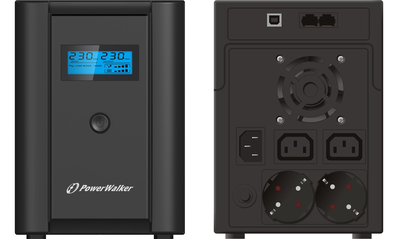 Power Walker LINE-INTERACTIVE 2200VA 2X Schuko + 2X IEC USB LCD