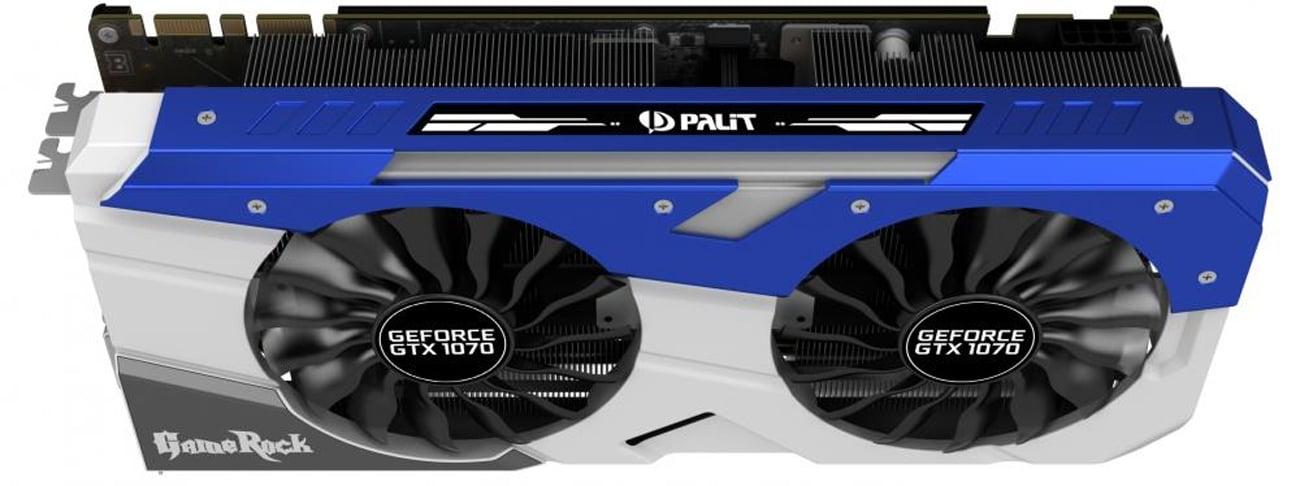 Karta graficzna Palit GeForce GTX 1070 Gamerock Przód wentylatory