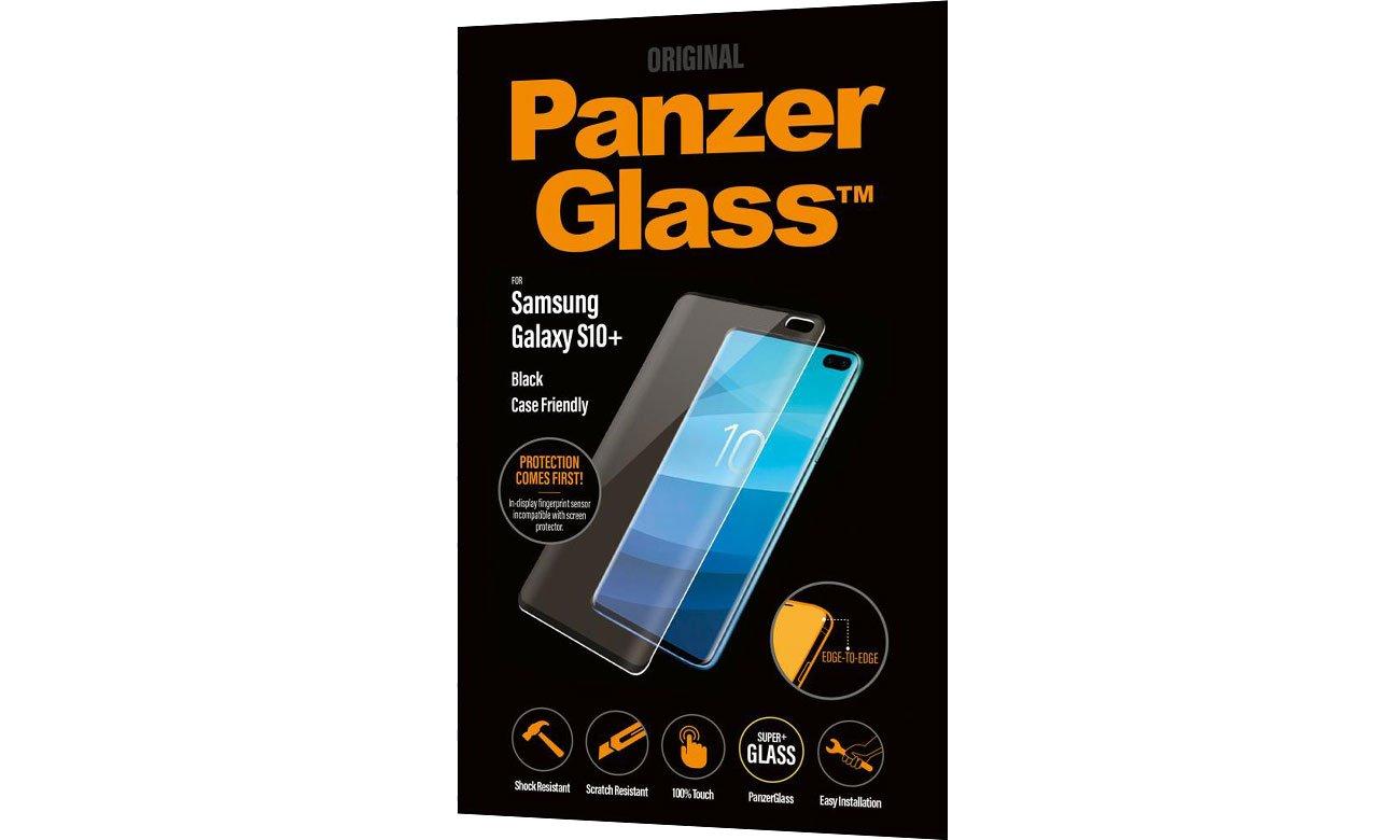 Folia/szkło na smartfon PanzerGlass Szkło Edge Casefriendly do Galaxy S10+ Black 5711724071768 / 7176