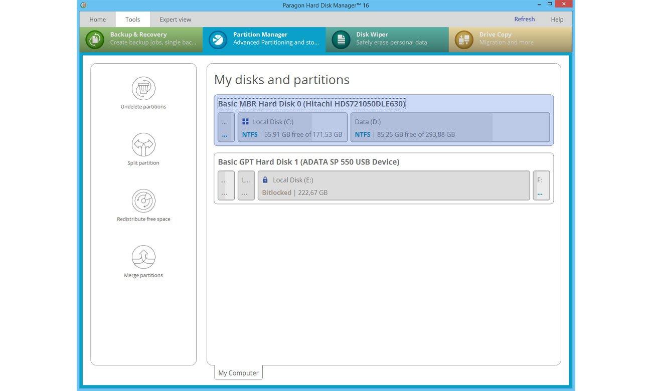 Paragon Hard Disk Manager 16 Zarządzanie partycjami