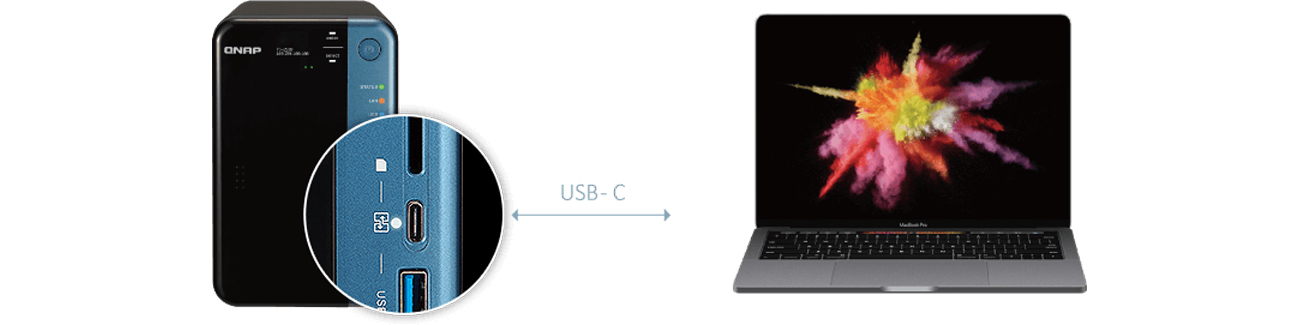 QNAP TS-253B-8G złącze USB-C