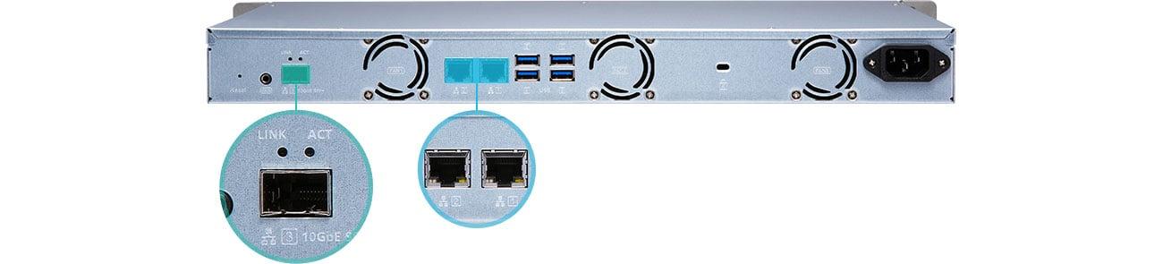 QNAP TS-431XeU-8G Porty SFP i Ethernet