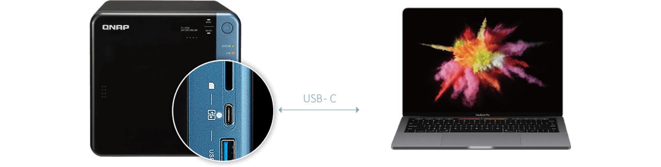 QNAP TS-453B-8G złącze USB-C