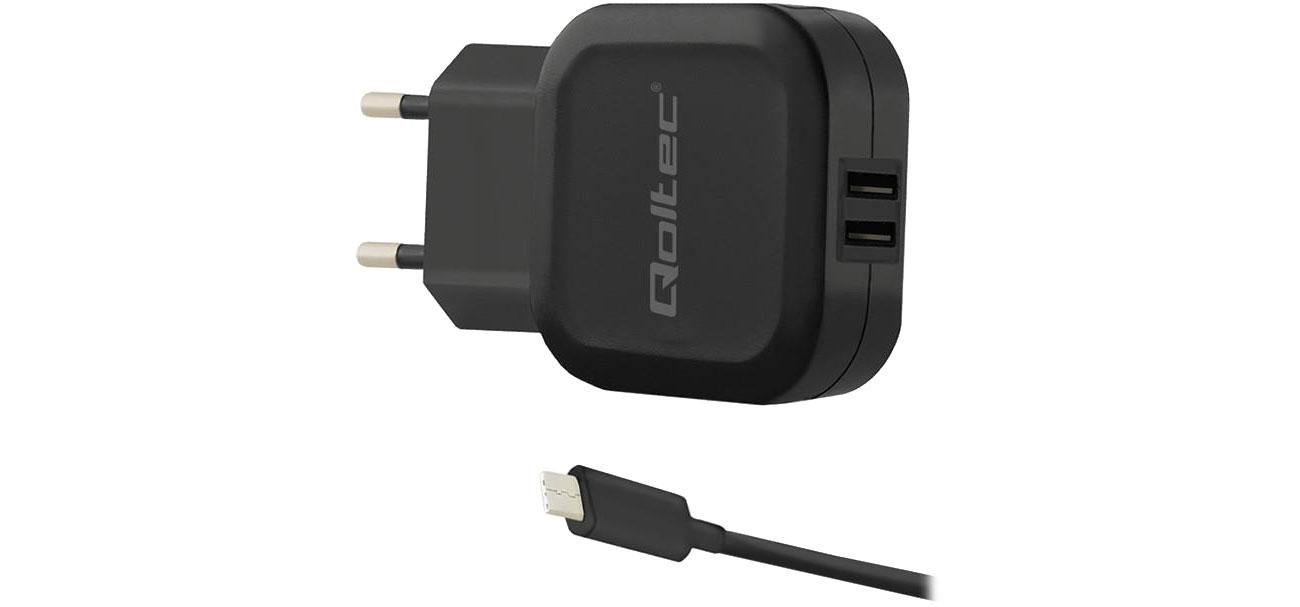 Ładowarka do smartfonu Qoltec Sieciowa 2 x USB 3,4 A 17W 5V + USB-C 50188