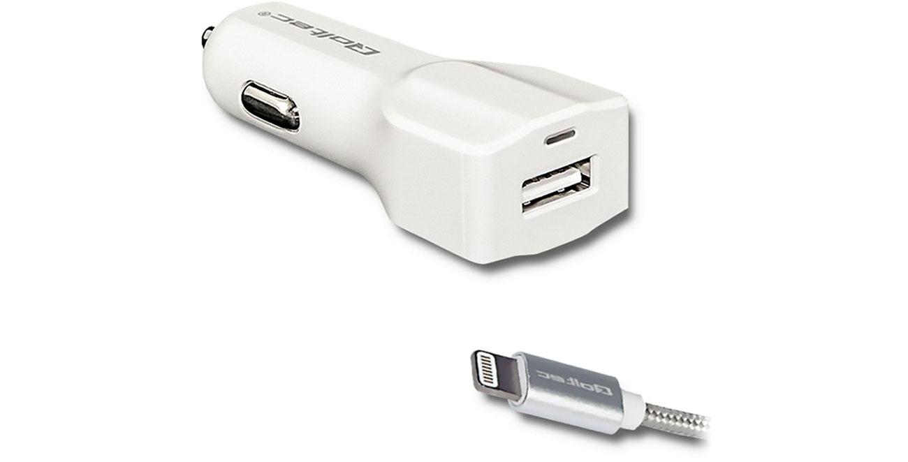 Qoltec Ładowarka samochodowa USB 2,4A + Lightning (MFI) 51838