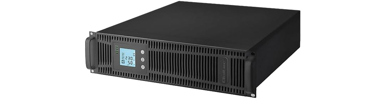 UPS Qoltec 53942 Rack 3000 VA / 2400W Widok z przodu