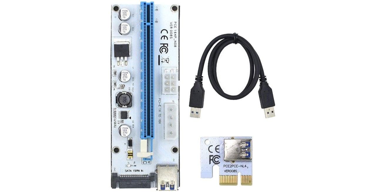 Qoltec 55502 Riser PCi-E 1x-16x USB 3.0 008S SATA,MOLEX