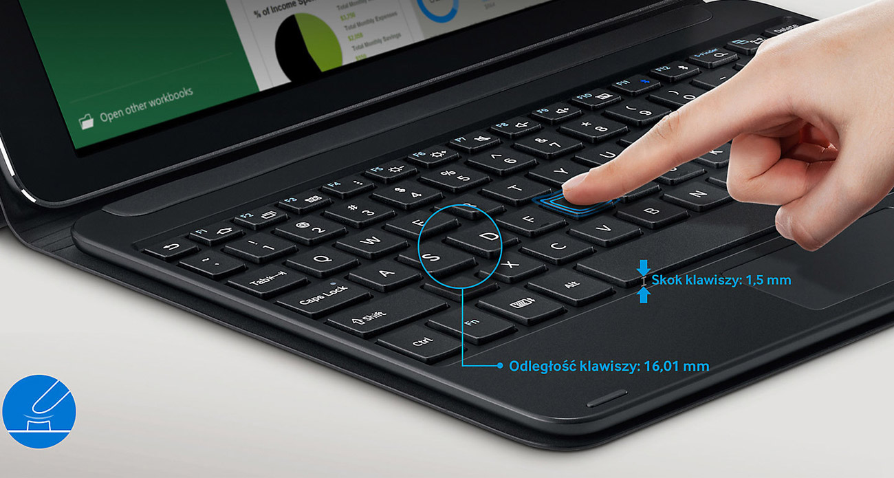 Klawiatura Book Cover Galaxy Tab S2 ergonomiczna konstrukcja