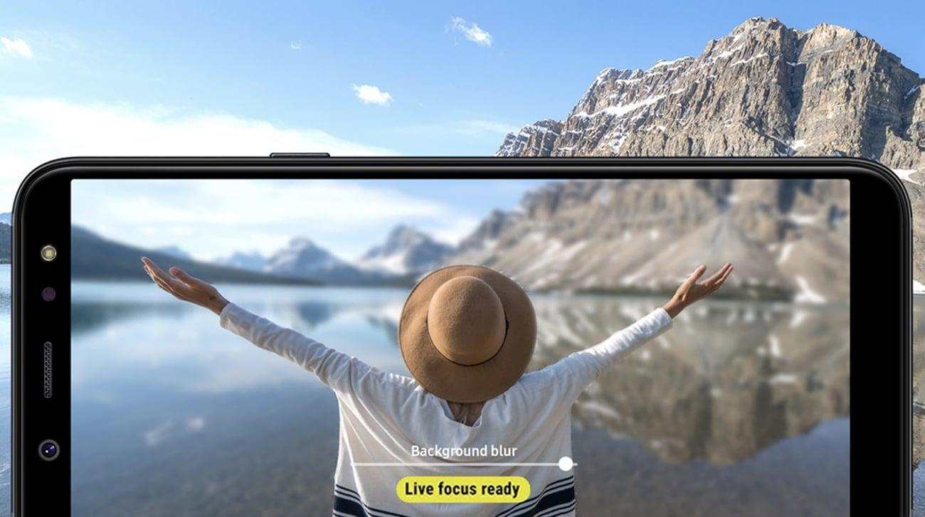 Samsung Galaxy A6+ A605F aparat selfie 24 mpix bokeh live focus AR