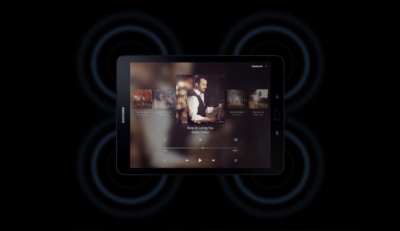 Srebrny Samsung Galaxy Tab S3 T820 głośniki surround AKG